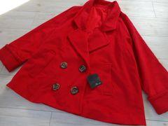 新品☆Andro gyne ウール ポンチョ コート ジャケット赤☆