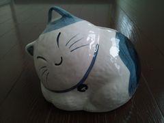 未使用 猫 ねこ ネコ 置物 陶器 貯金箱