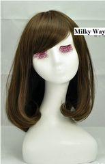 上品◆前髪斜め フルウィッグ 耐熱 ミディアム ボブ チョコ