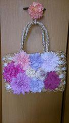 アクシーズ♪美品♪お花いっぱい♪かご編み♪バッグ♪