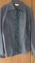 Mサイズ!試着のみ!落ち着いた色チェック柄×フリル長袖シャツ!