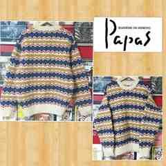 定価6万円 Papas パパス ハンドニットセーター 手編み カウチン 新品 HAND KNIT