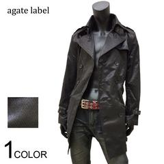 agate シャイニートレンチコート ブラック M[697007]