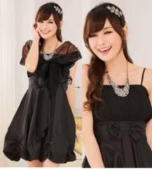 新品【6829】(XXL)黒ショール付★バルーンキャミワンピのセット