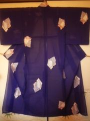 紫ラメ*銀刺繍お召レトロ正絹紗チョー美品ポス