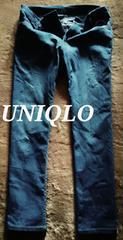 【UNIQLO】Washed ストレッチテーパードジーンズ 30/Blue