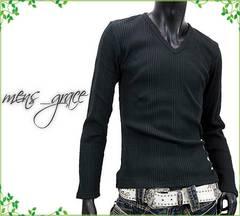 新品 長袖Tシャツ Vネック ランダムリブ伸縮 黒ブラック L