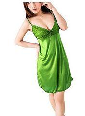 つるつるサテン素材! 光沢あるスリップ 極上の肌触り グリーン