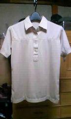古着 細身タイト ストレッチ・半袖ポロシャツ Sサイズ ベージュ色 無地 ロック