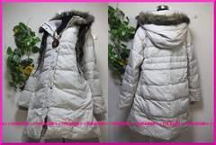 冬新作◆大きいサイズ5Lクリーム◆フェイクファー付◆ロングダウンコート