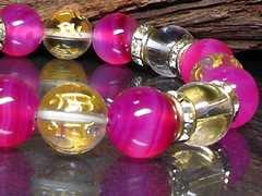 十二支梵字水晶ピンクアゲート水晶10�_数珠