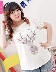 0210-50663大きいサイズ☆両袖花柄プリントTシャツ☆4L