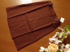 新品Tip Tip茶膝丈ボックスプリーツスカートLサイズ70-95