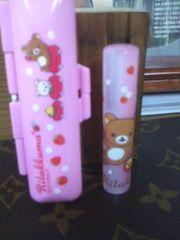 オーダー品◆リラックマ(ピンク)◆印鑑ケースセット◆彫代込み