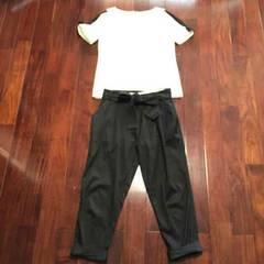 ランバン新品同様パンツ38黒取り外しリボン付き