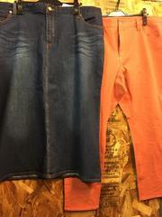 新品☆W114�pデニムスカート&スキニーパンツのセット☆j381