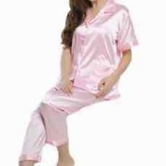 ◆新品◆半袖シルクサテンパジャマ♪レディースピンクサイズL!