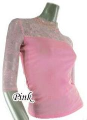 新品[5695](L)ピンク★薔薇ストレッチ七分袖レースシャツ