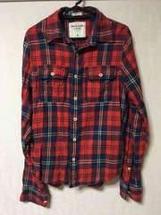 アバクロ チェックシャツ S 赤系
