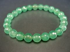 天然石3Aライトグリーン色ジェードミラーカット約8ミリ数珠