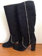 本革 プールサイド ダイアナ系 スペイン製 太ヒールロングブーツ