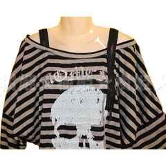 18 長袖 肩開きドルマンTシャツ 3L グレー 大きいサイズ