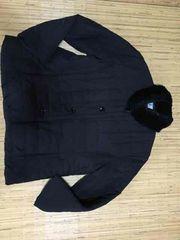 婦人  黒  ラビットファー付  中綿入  軽いジャケットジャンパー