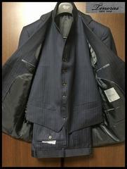 新品☆ ティノラス コンバーチブルベスト付き 濃紺×チョークストライプ3ピース Mサイズ