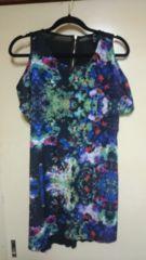 ■美品H&M黒花柄サテン肩見せ背中ジップ裾変形ワンピ■
