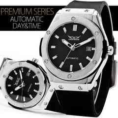 NEW★42mmフェイスバックスケルトン自動巻き腕時計カレンダー BK
