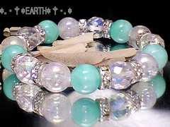 天然石★64面カットアクア水晶クラック・アマゾナイトAAA数珠
