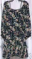 フリーズショップFREE'Sグレー地花柄裾プリーツシフォンワンピース美品Rady