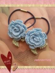 ハンドメイド/手編み♪レース編みお花のヘアゴム2個セット 561