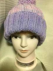 あったか〜い手編みニット帽子