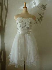 L ミディアムドレス ホワイト チュール ベア ギャザー 新品E1639