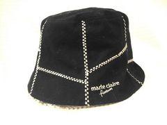 【マリクレール】黒/モカ茶のリバーシブル帽子です