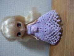 プチブライスofラベンダーのレース編みドレス