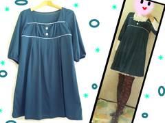 ◆M/ハニーズ・C・O・L・Z・A /五部袖チュニックワンピ/緑◆