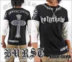 メール便送料無料【MAD BURST JAPAN】70547-7分Tシャツ黒銀XL