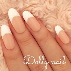 みぢょ!オーバル美爪シンプル白フレンチ/ホワイト/ナチュラルベージュ定番ネイル