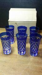 美しき、キリコガラスのコップを六客未使用。
