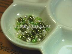 穴なしパール グリーン系×ホワイト2〜4ミリMIX レジン 50粒