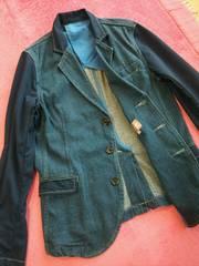 新品☆カジュアル♪袖襟ポケット切替♪デニム♪ジャケット☆ブルーL