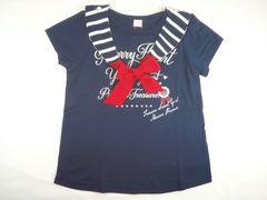 値下げセールメゾピアノJr取り外しOKセーラーカラーロゴ入り半袖Tシャツ