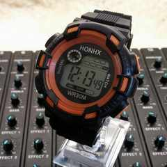 【送料無料】バックライト7色★HONHXジタル腕時計★日常防水/OR