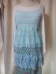 手編み水色チュニック コットン100%