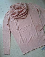 スヌード+ニット★タートルネック風セーター★LL★ピンク★大きいサイズ★新品
