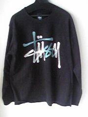 STUSSY黒色ロングTシャツステューシー ブラックロンT LサイズUSAアメリカ製