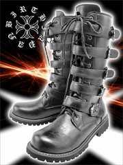 送料込ベルトロングブーツ/靴/ヤンキーオラオラ系伊達ワル/お兄系ホストメンナク33黒27.0