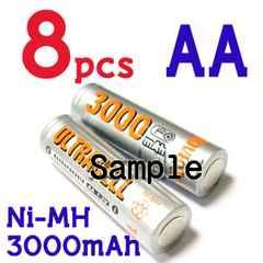 ULTRACELL Ni-MH 単三 3000mAh 1.2V 充電池 8本セット